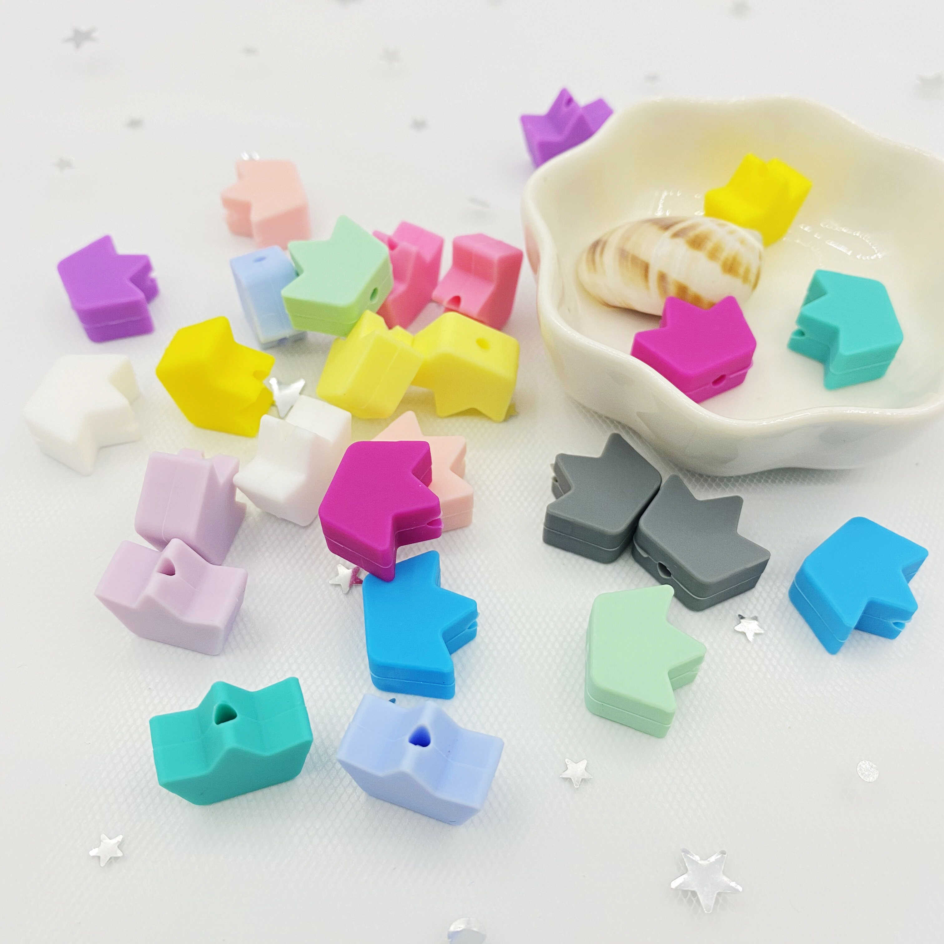 10pcs Food grade silicone Teether Crown beads DIY Baby Pacifier clip Molar toy