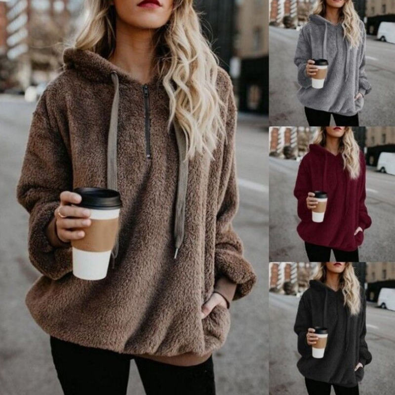 Sweatshirt Women Winter Warm Fluffy Plush Sweatshirts Hoodies Causal Fleece Fur Sweatshirt Pullover Tops