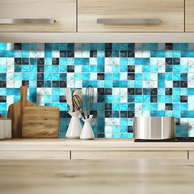 19Pcs Mosaic Tile Wall Sticker Self Adhesive Pvc Waterproof Tiles Decals Diy Kitchen Bathroom Home Wall Sticker Vinyl 3D 5