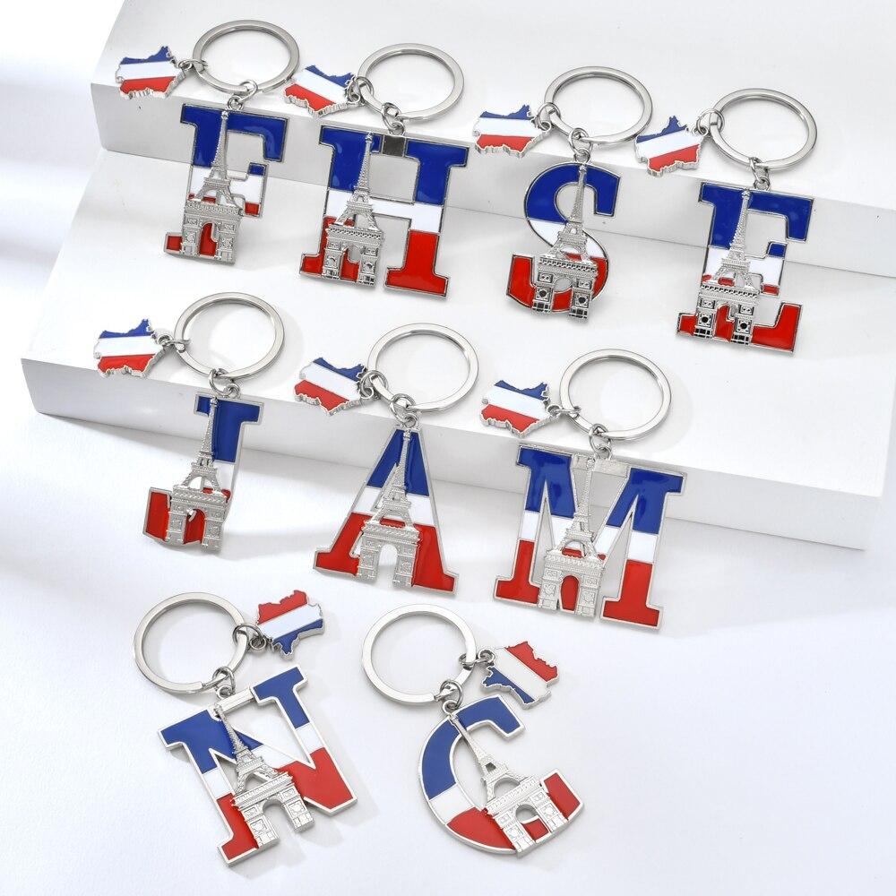 Vicney High Quality Letter Keychain France Souvenir Triumphal Arch Key Chain ACE Letter Zinc Alloy Eiffel Tower Keyring For Key