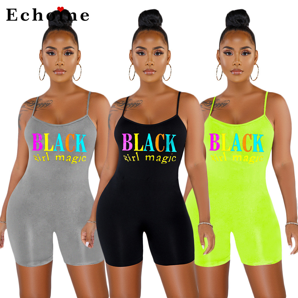 Women Playsuit  Sexy Bodycon Jumpsuit Spaghetti Straps Printing Letter Leisure Homewear Backless Siamese Pants Catsuit Wholesale