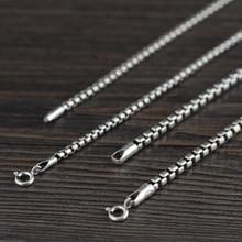 Caja de collares de cadena redonda Retro para hombre, Plata de Ley 925 auténtica, Thai con cadena larga de plata, caja con Cruz, joyería