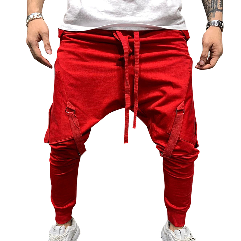 WENYUJH 2019 Autumn Men's Stylish Elastic Waist Solid Drawstring Pants Jogging Tracksuit Pants Sweatpants Beam Foot Sports Pants