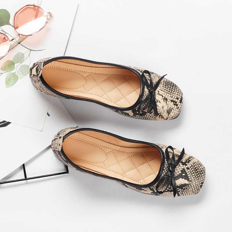 Kadın yılan derisi Flats ayakkabı rahat moda bahar PU papyon üzerinde kayma kadın Retro loafer'lar bayanlar sığ konfor tek ayakkabı 2020