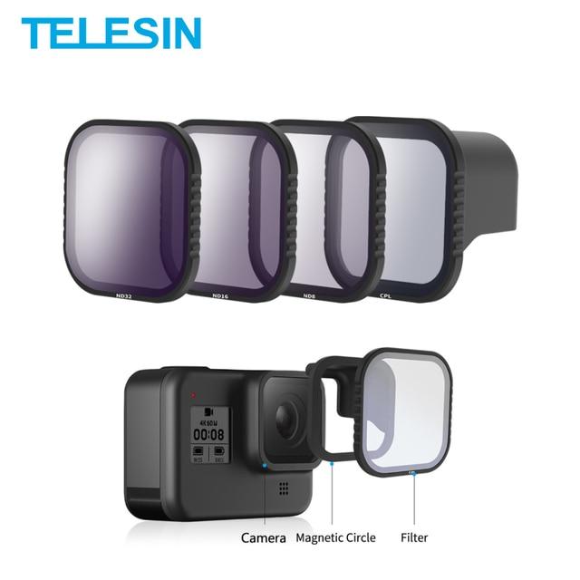 Telesin磁気cpl nd 8/16/32 フィルター移動プロ 8 hero8 polariziedフィルターND8 ND16 レンズレンズアクセサリー