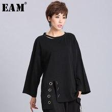 EAM – pull à manches longues et col rond pour femme, couleur noire, à fente, à la mode, ample, nouvelle collection printemps été 2021, OA881