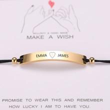 Custom women Personalized bracelet Engraving rectangle Custom Name bracelet Stainless Steel red black rope bracelet Gift jewelry