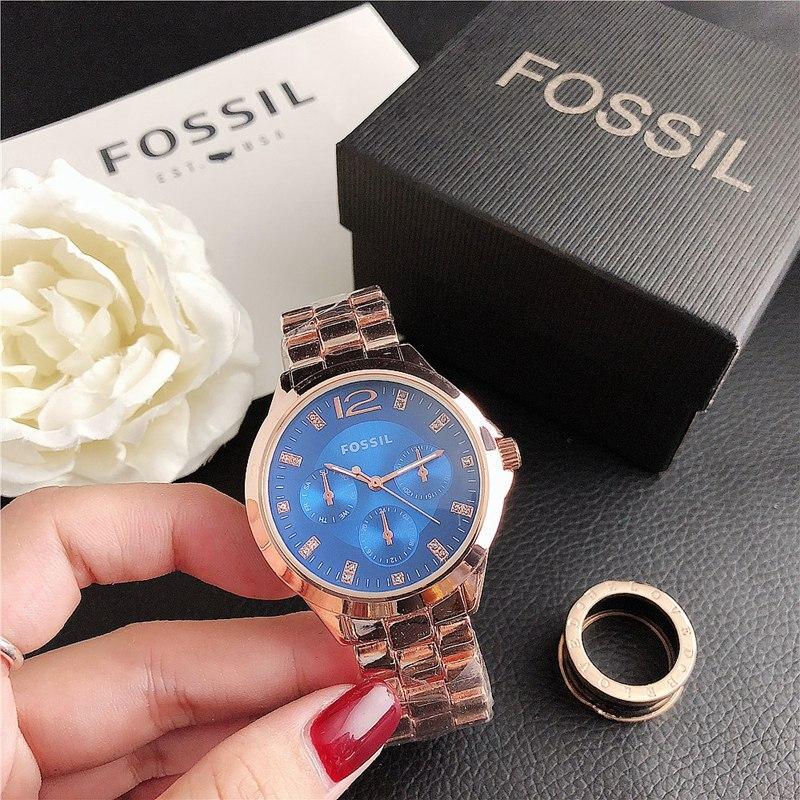 Fossil-quartzo pulso vestido feminino relógios pulseira de prata senhoras relógio de aço inoxidável relógio casual 532