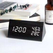 ไม้LEDนาฬิกาปลุกควบคุมเสียงดิจิตอลอุณหภูมิความชื้นไม้Despertadorนาฬิกาตั้งโต๊ะUSB/AAA