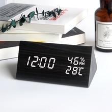 Reloj Despertador LED de madera, reloj Digital con Control de voz, pantalla de temperatura y humedad, Despertador de madera de escritorio, USB/AAA