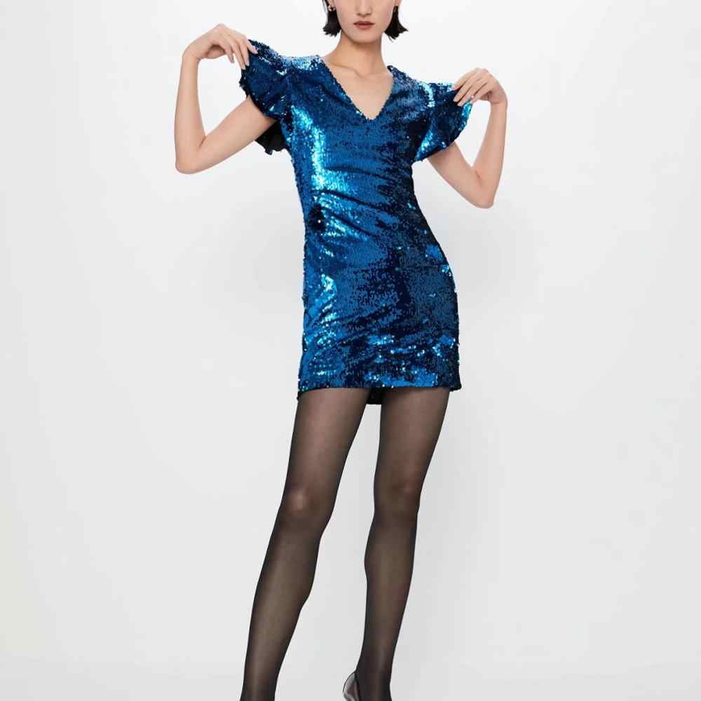 Za Vrouwen Jurk 2019 Blue Sequin Ruffle Chic Dames Bodycon Slanke Elegante Mini Club Avond Party Dress Vrouw Jurken