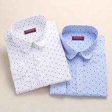 Размера плюс, хлопковые женские блузки в горошек, рубашка с длинным рукавом, женские рубашки с отложным воротником, хлопковая Повседневная Блузка, Женский Топ