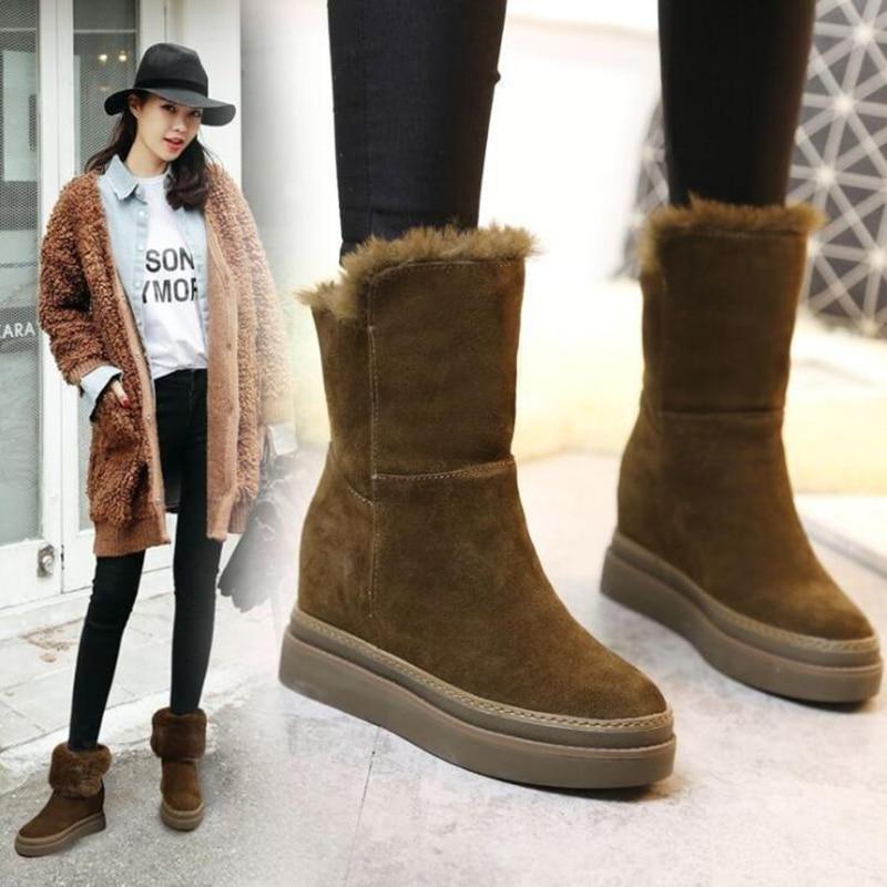 Зимние ботинки; женские зимние ботинки; женские ботинки; модные ботинки на толстой танкетке; коллекция 2019 года; короткие плюшевые теплые Нескользящие ботинки, увеличивающие рост