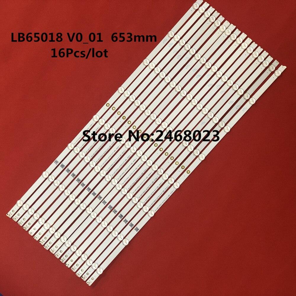 New 16 PCS/lot 8LED 653mm LED Backlight Strip D65U-D2 D65-D2 E65X-C2 LB65018 V0_01