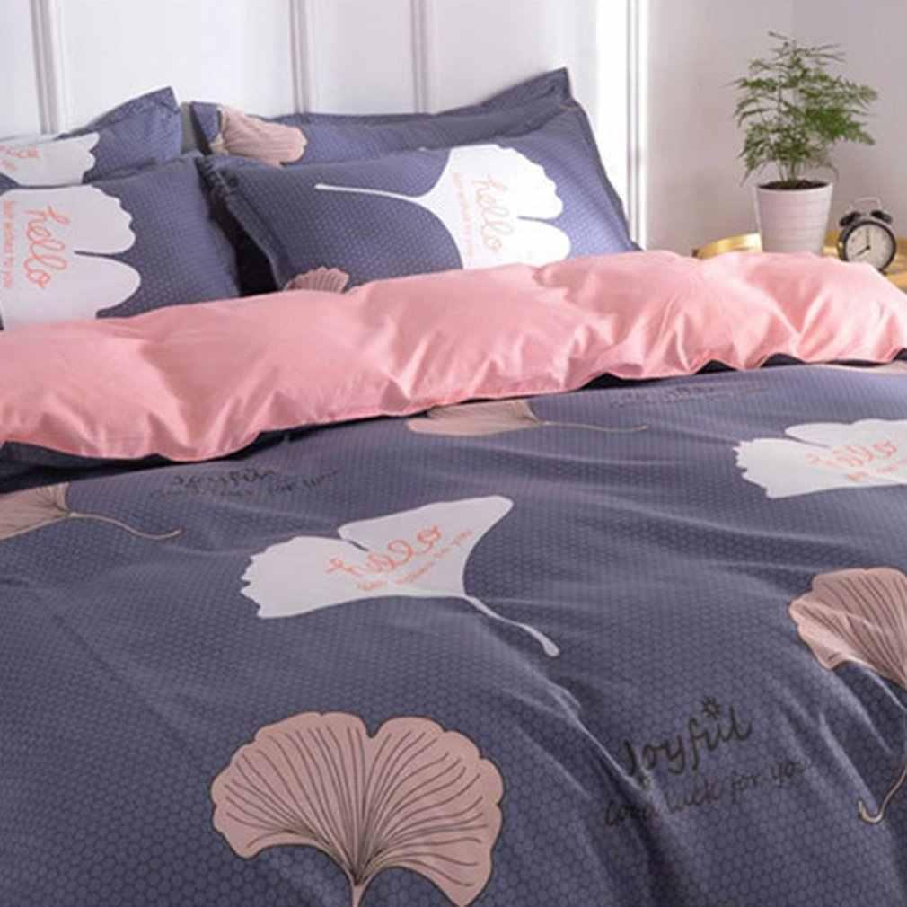 4pcs Bedding Set Fashion Clover Leaf Printed Super Soft Washable Duvet Cover Bed Sheets Pillowcase Bed Supplies