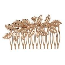 Мода Панк Женщины Девушки золотой гребень для волос в виде листьев зажим для волос ювелирные изделия приятные, золото