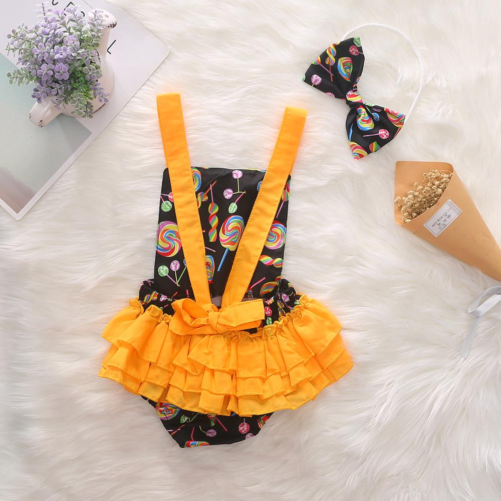 0 3Y Baby Girl Clothes Bowknot Headband Bodysuit Newborn Infant Girls Jumpsuit Lolipop Sunsuit 2pcs Baby Girl Bodysuit in Bodysuits from Mother Kids