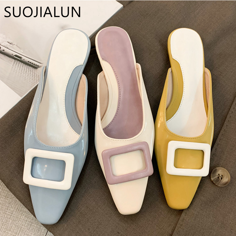 SUOJIALUN 2020 Luxury Women Slipper Square Toe Slip On Mules Sandal Ladies Fluorescent Color Low Heels Slides Zapatos Mujer