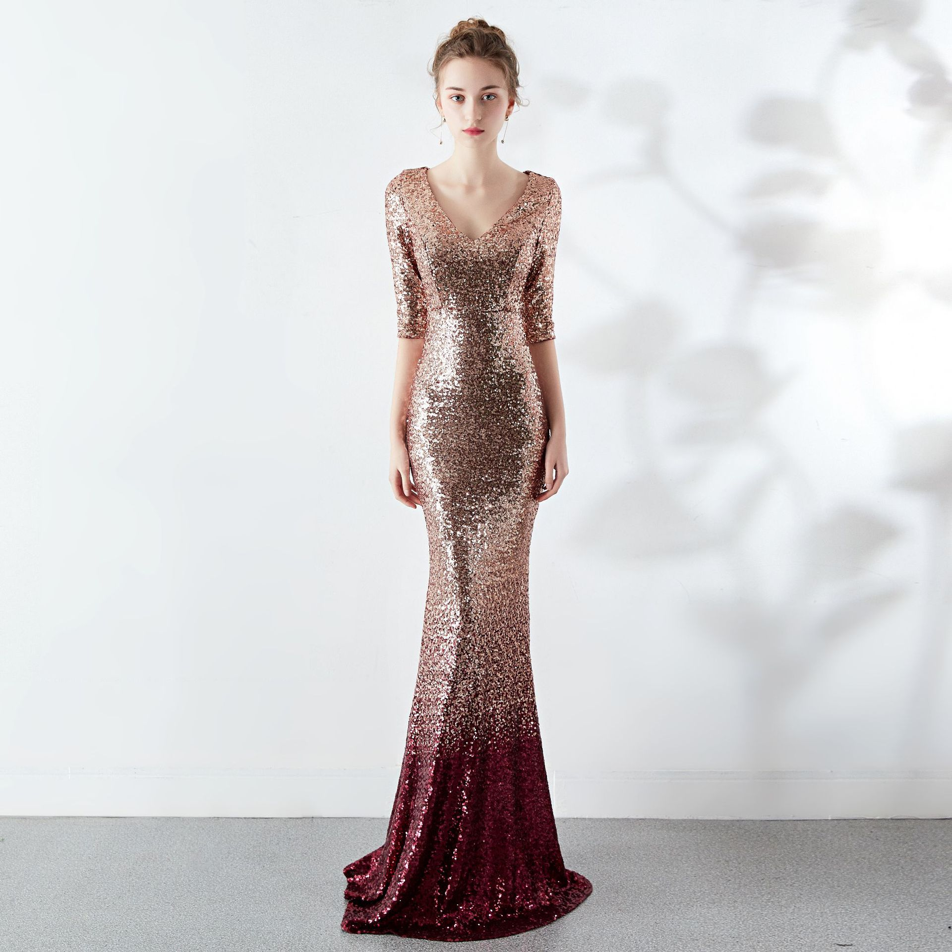 Robe De Soiree 2019 Sexy V-neck Half Sleeves Autumn Winter Mermaid Burgundy Long Evening Dresses Elegant Abendkleider ES2929-1
