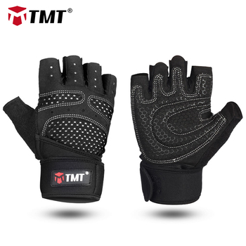 TMT gym weight lifting Gloves Dumbbell Weightlifting Fitness Exercise Non-Slip Breathable Half Finger sports Training Gloves