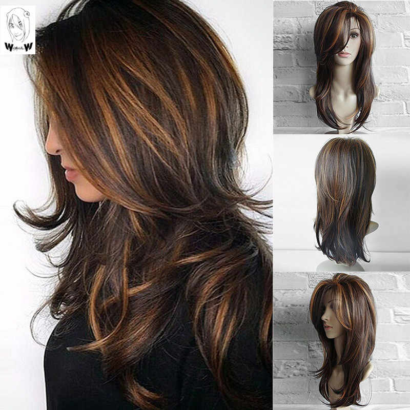 WHIMSICAL W Long Natural Wave  Wigs For Women Ombre Brown Mixed Color Heat Resistant Hair Synthetic Wig