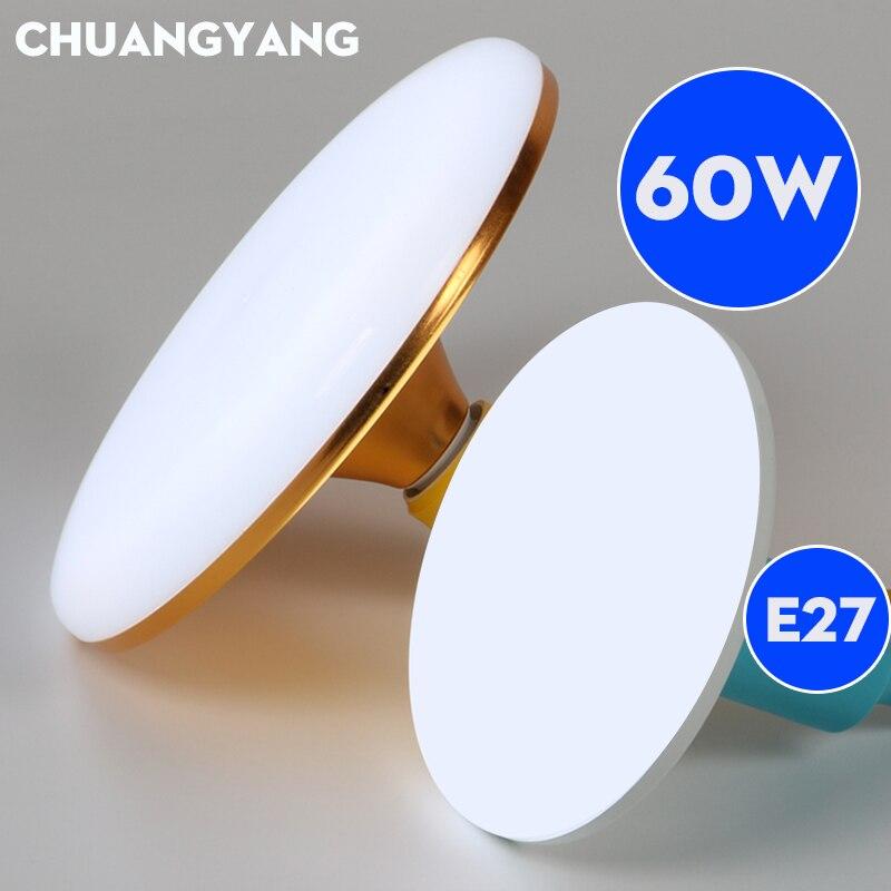 Enerji tasarrufu E27 Led ampul ışık SMD5730 2835 15W 20W 30W 40W 50W 60W Lampada ampul Bombilla süper parlak UFO lamba ev için