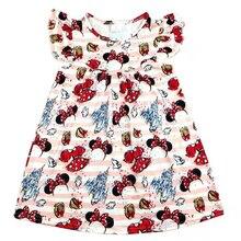 Hurtownia ubrań dla dzieci dziewczyny trzepoczący rękaw kreskówka sukienka z nadrukiem maluchy wiosna/lato mickey kokardka z nadrukiem sukienka z nadrukiem milksilk