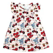 Wholesale childrens clothes girls flutter sleeve cartoon printed dress Toddlers Spring/summer mickey bow printed dress milksilk