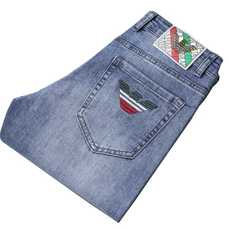 Italien Adler Marke herren Denim Jeans Slim Fit Stretch Dünne Stil Mode Business-Hose Stickerei Männlichen Baumwolle Jeans Hosen