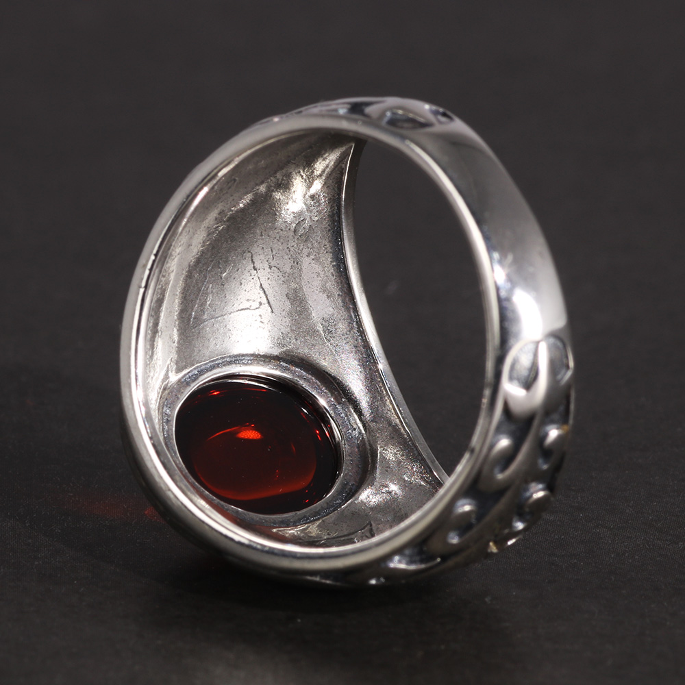 Image 3 - Real 925 Sterling Silver Jewelry Vintage Rings For Men Engraved Flowers With Red Garnet Natural Stone Fine Jewelleryring forrings for menvintage ring -