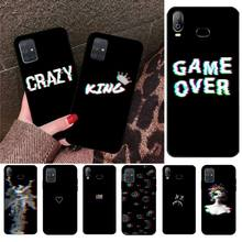 Black background Glitch no signal pattern text phone Case Shell For Samsung Galaxy A01 A11 A31 A81 A10 A20 A30 A40 A50 A70 A51