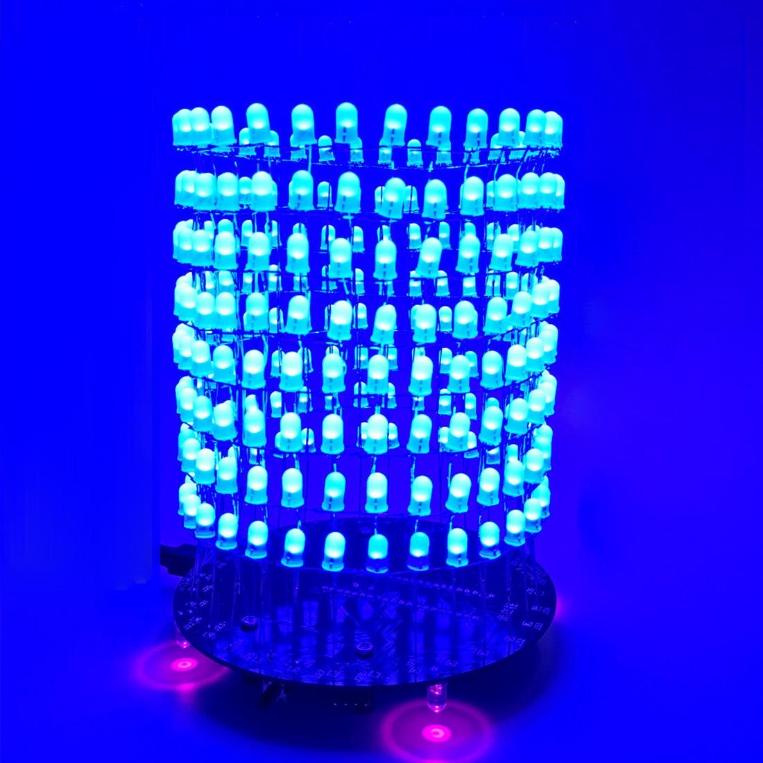 Round Audio Spectrum Light Column DIY Welding Light Cube DIY Lamp Brain-Training Toy For Children Educational Toys Birthday Gift