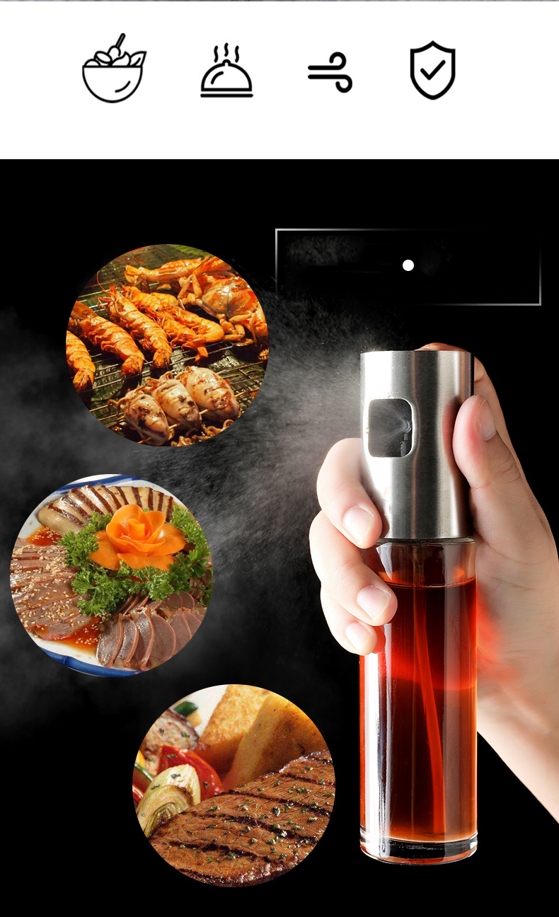 Stainless Steel Olive Oil Spray Bottle Oil Vinegar Spray Bottles Water Pump Gravy Boats Grill BBQ Sprayer BBQ Kitchen Tools