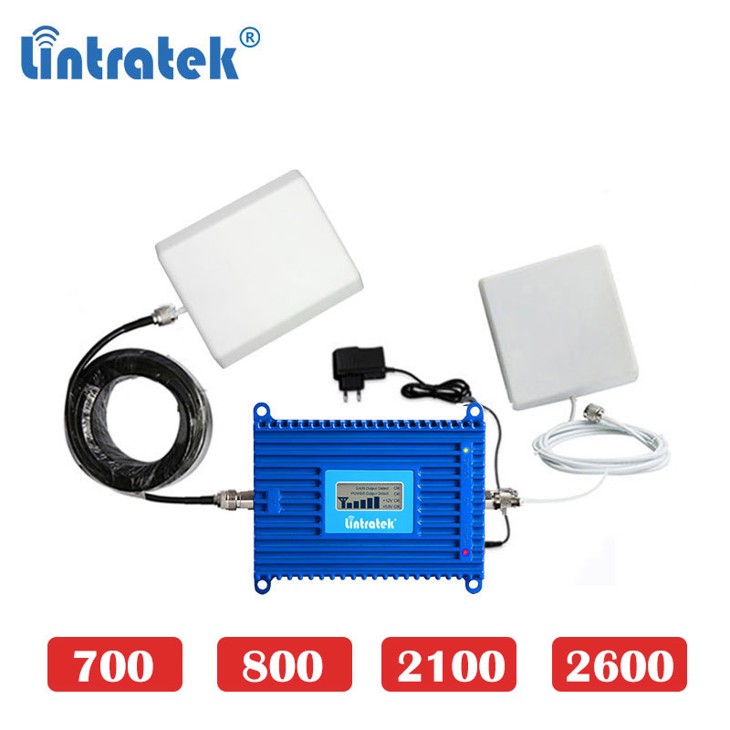 Lintrate 700mhz 4G LTE 2600 2100 800 70dB B13 B12 B17 700 Cell Phone Signal Booster Signal Repeater Amplifier Internet Set Dd