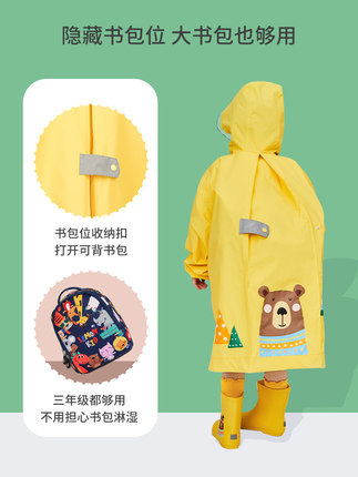 Girls Raincoat Kids School Boys Kindergarten Long Rain Poncho Rain Jacket Waterproof Yellow Long Rain Coat Capa De Chuva Gift 4
