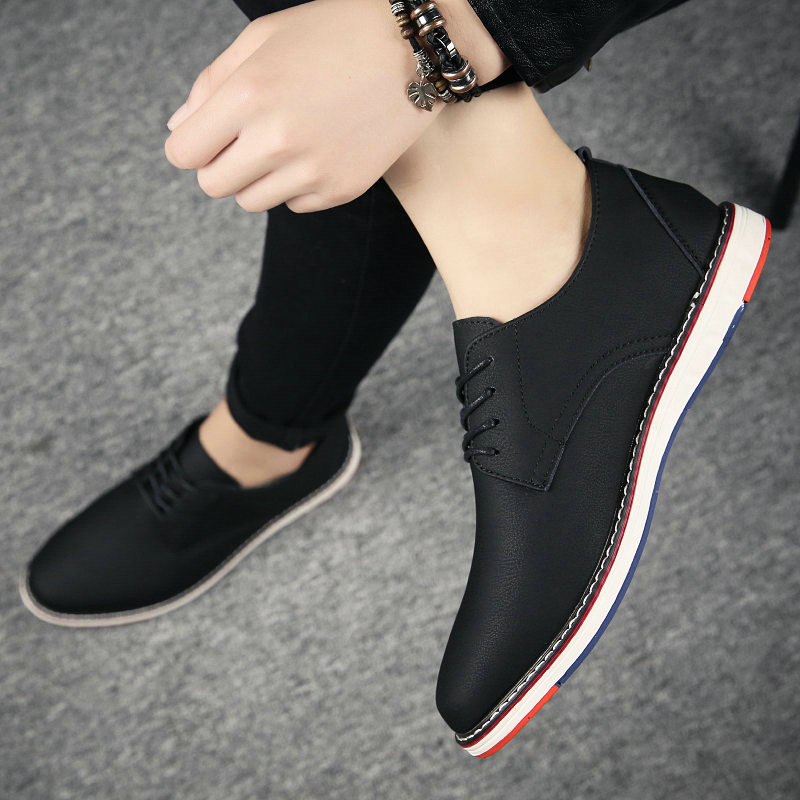 Man Moccasins Sneakers All Black Flats Shoes Mens  Business Dress Leather Casual Fashion Low Lace-up Oxfords Formal Shoes LK-99