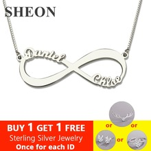 SHEON Personalized 925 Sterling Silver Two Name Necklace Infinity Love Has No End Jewelry For Lover Gift