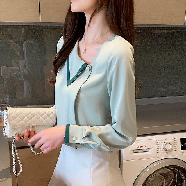 Korean women blouses shirts woman Long Sleeve shirts blouse office lady Chiffon Shirt tops plus size blusas mujer de moda 2020 6