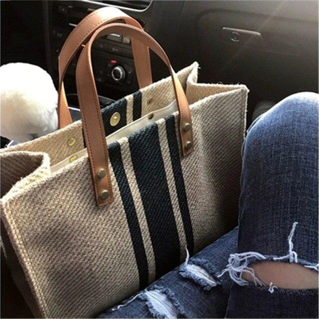 حقيبة نسائية جديدة حقيبة يد نسائية من القش حقائب كبيرة للنساء 2019 جديدة اللون مطابقة النسيج BigHandbag موضة مثير غير رسمي