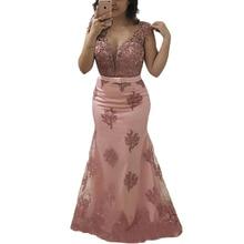 Vestido de noche Formal largo 2020 manga casquillo joya transparente de talla grande vestidos de Madre de la novia sirena rosa claro Encaje Vintage