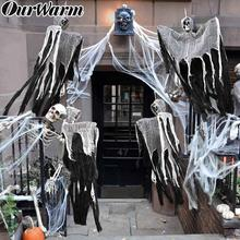 OurWarm 90*60cm Halloween Hanging Ghost Witch Prisoner Grim Reaper Haunted House Escape Horror DIY Decorations Prop