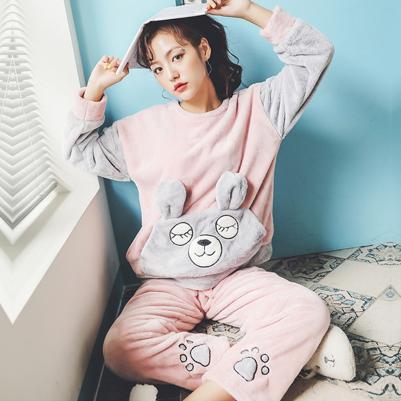 Plus Size 3XL 4XL 5XL Women Sleepwear Coral Fleece Pijama Long Sleeve Flannel Thick Winter Pink Pyjamas Femme Homewear Pajamas