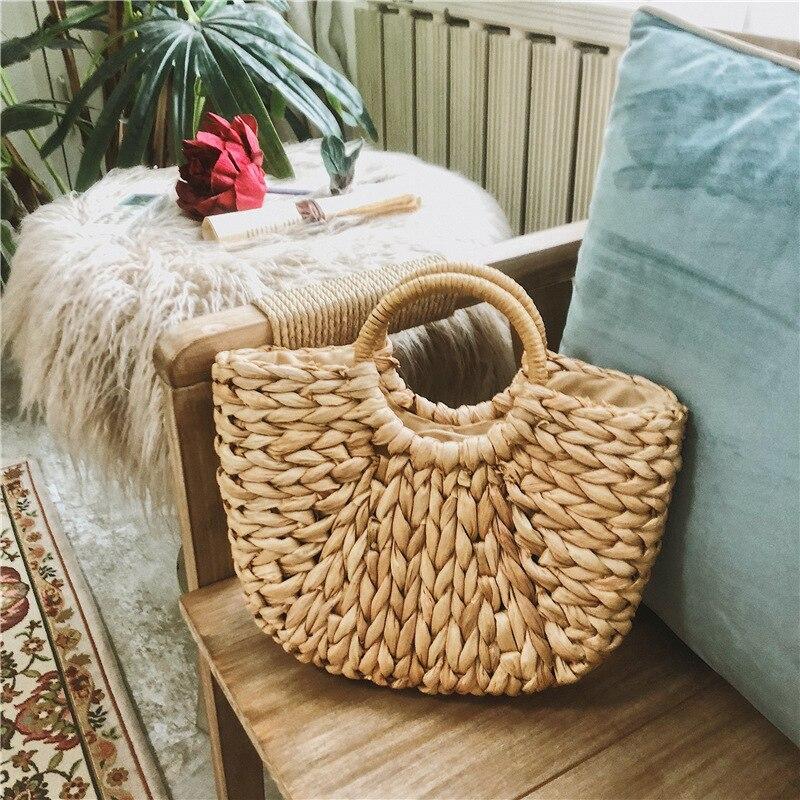 Новинка 2020, простая соломенная сумка для девочек, летняя пляжная сумка для путешествий, ручная сумка из ротанга с полулуной, жесткая сумка с ...