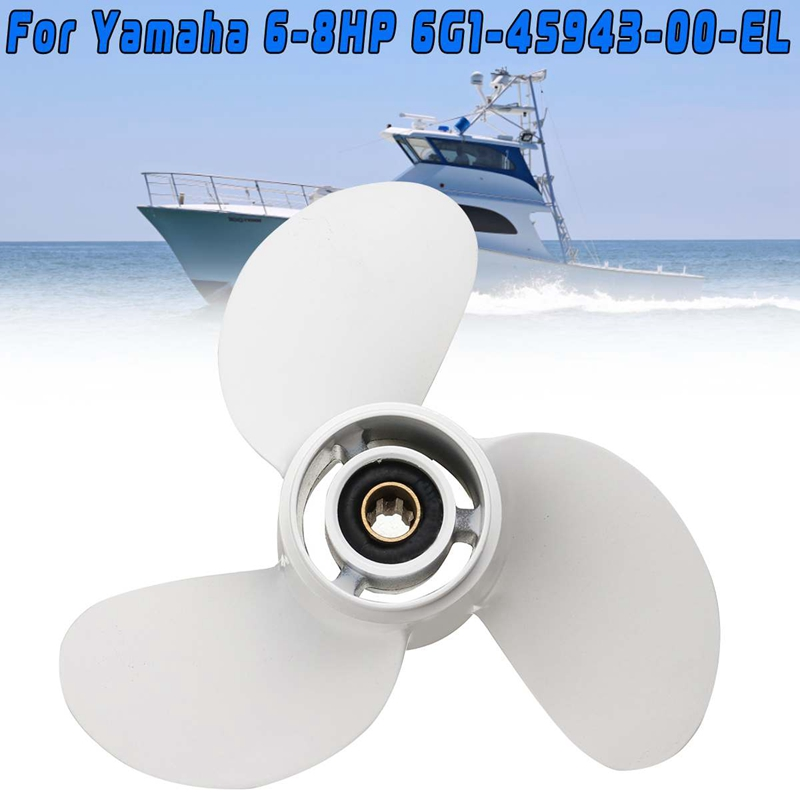 Boat Propeller 6G1-45943-00-El 8 1/2 X 7 1/2 For Yamaha Outboard Engine 6-8Hp Aluminum Alloy 3 Blades R Rotation 7 Spline Tooths