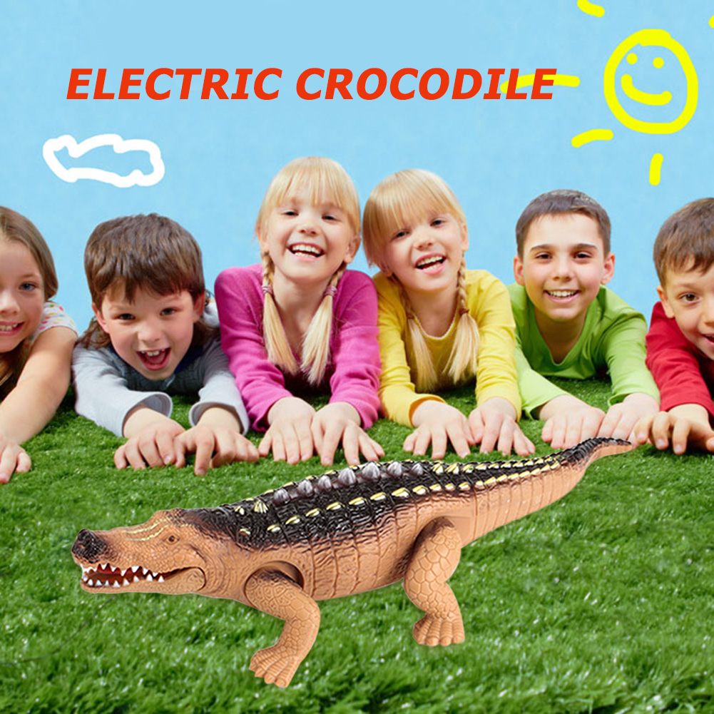 Realistic Crawling Electric Crocodile Skillful Design And Exquisite Appearance Sound Lighting Animal Model Random Color