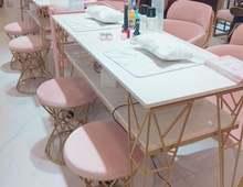 Скандинавский двухслойный стол и стул для дизайна ногтей набор