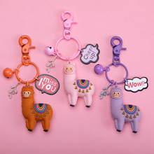 2019 New Cartoon Cute alpaca Key chain Fashionable epoxy 3D Doll Creative little Sheep Keychains pendant childrens Jewelry