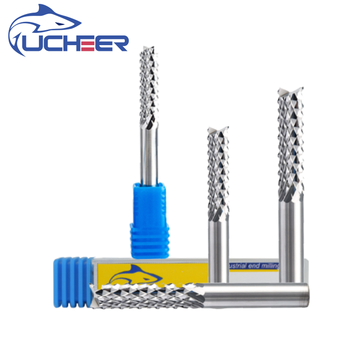 цена на UCHEER 1pcs  8mm Carbide Tungsten PCB Corn teeth Cutter milling bits end mill CNC router bits for Engraving machine