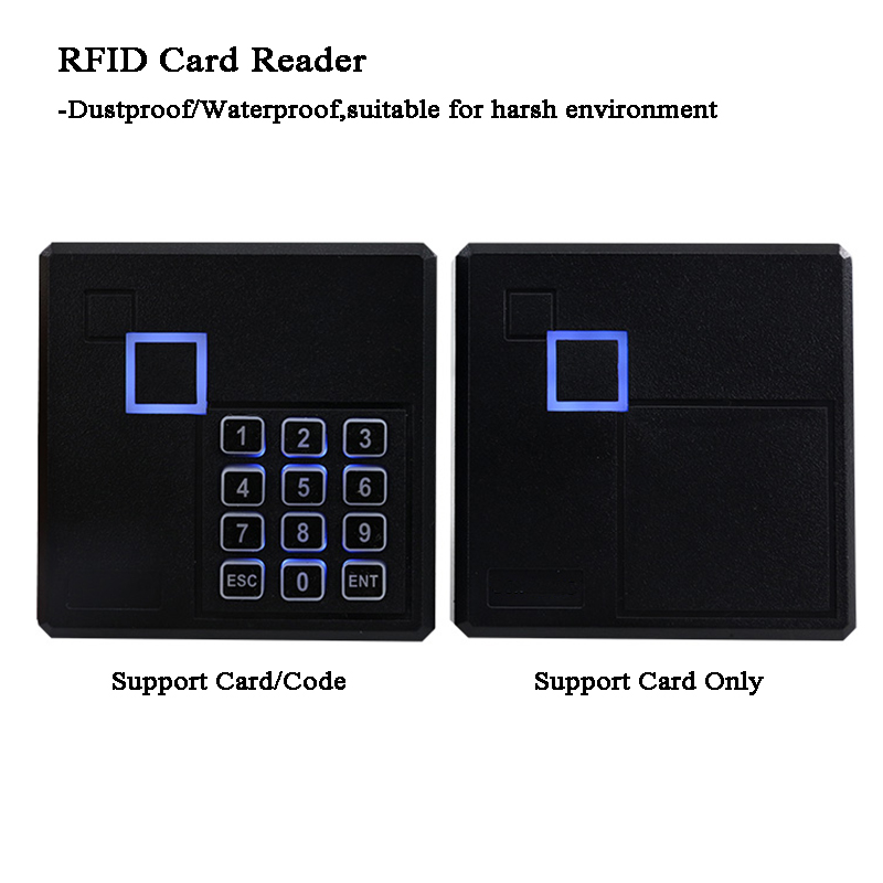 Door Opener RFID Lock Wiegand 26/34 125KHZ/13.56 EM4100/Mifare/14443A Access Card Reader Code Dustproof/Waterproof Garage/Gate