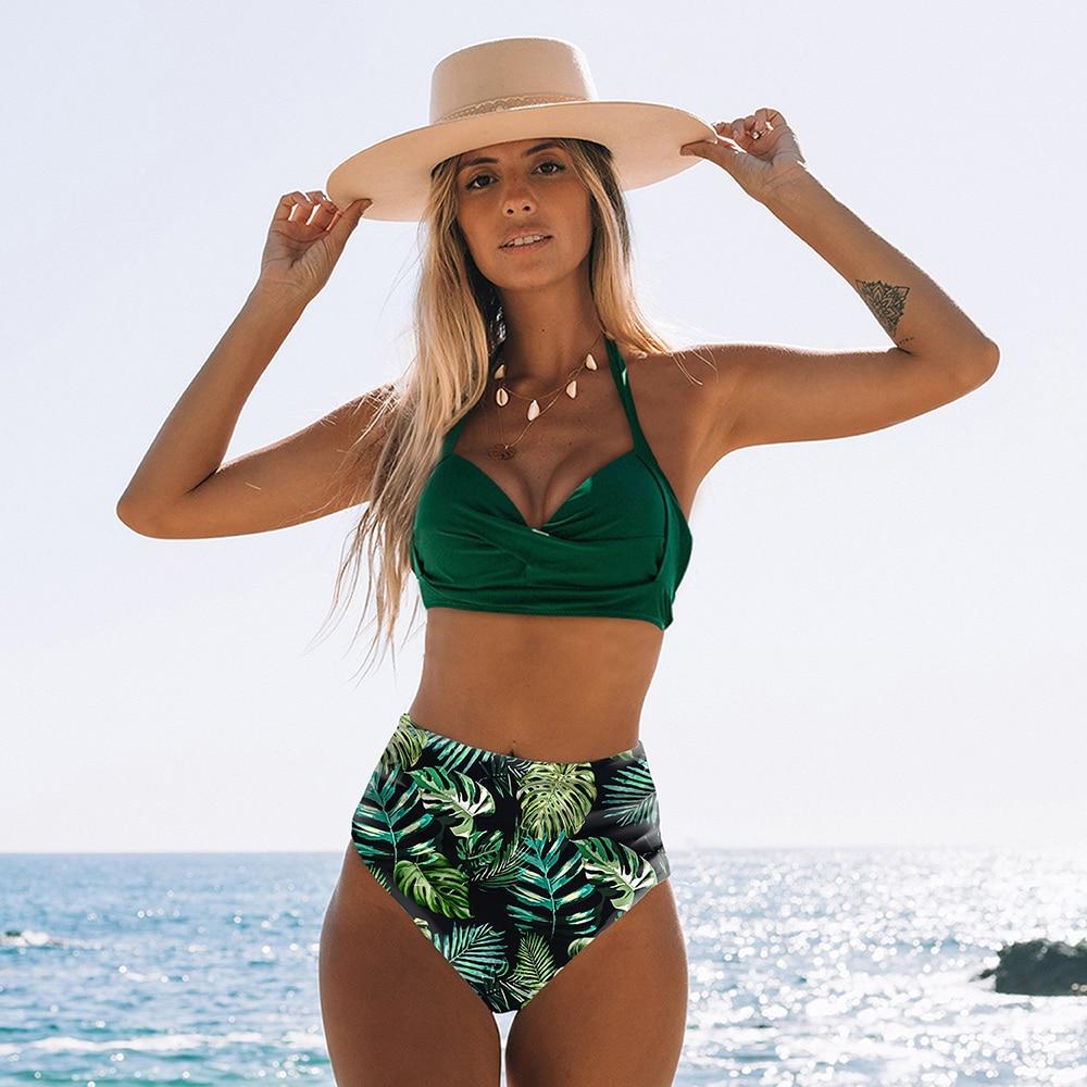 Sexy High Waist Bikini 2020 Halter Plus Size Swimwear Women Swimsuit Female Bikini Set Bodysuit Bathing Suit Summer Biquini XXL 5